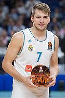 Real Madrid Luka Doncic receive October's MVP award during Turkish Airlines Euroleague match between Real Madrid and Unicaja at Wizink Center in Madrid, Spain. November 16, 2017. (ALTERPHOTOS/Borja B.Hojas)