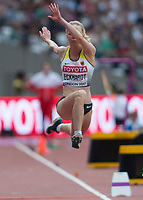 Athletics - 2017 IAAF London World Athletics Championships - Day Two (AM Session)<br /> <br /> Event: Triple Jump Women - Qualification<br /> <br /> Neele Eckhardt (GER) leaps between  phases of her jump <br /> <br /> COLORSPORT/DANIEL BEARHAM