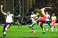 Manchester City forward Gabriel Jesus shot at goal during the EFL Cup match between Preston North End and Manchester City at Deepdale, Preston, England on 24 September 2019.