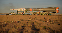 October 9, 2018 - Baikonur, Kazakhstan - The Soyuz rocket is rolled out by train to the launch pad, Tuesday, Oct. 9, 2018 at the Baikonur Cosmodrome in Kazakhstan. Expedition 57 crewmembers Nick Hague of NASA and Alexey Ovchinin of Roscosmos are scheduled to launch on October 11 and will spend the next six months living and working aboard the International Space Station. (Credit Image: ? Bill Ingalls/NASA via ZUMA Wire/ZUMAPRESS.com)