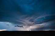CUT BANK, MT – JUNE 29, 2013: Lightning strikes in the small town of Cut Bank, Montana during the 2013 tornado season on June 29, 2013. (Photo by Suzanne Tylander ©2013)