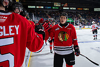 KELOWNA, BC - FEBRUARY 8: Simon Knak #36 of the Portland Winterhawks celebrates a second. period goal against the Kelowna Rockets at Prospera Place on February 8, 2020 in Kelowna, Canada. (Photo by Marissa Baecker/Shoot the Breeze)