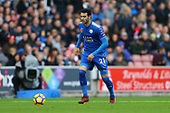 Vicente Iborra of Leicester City in action. Premier league match, Stoke City v Leicester City at the Bet365 Stadium in Stoke on Trent, Staffs on Saturday 4th November 2017.<br /> pic by Chris Stading, Andrew Orchard sports photography.