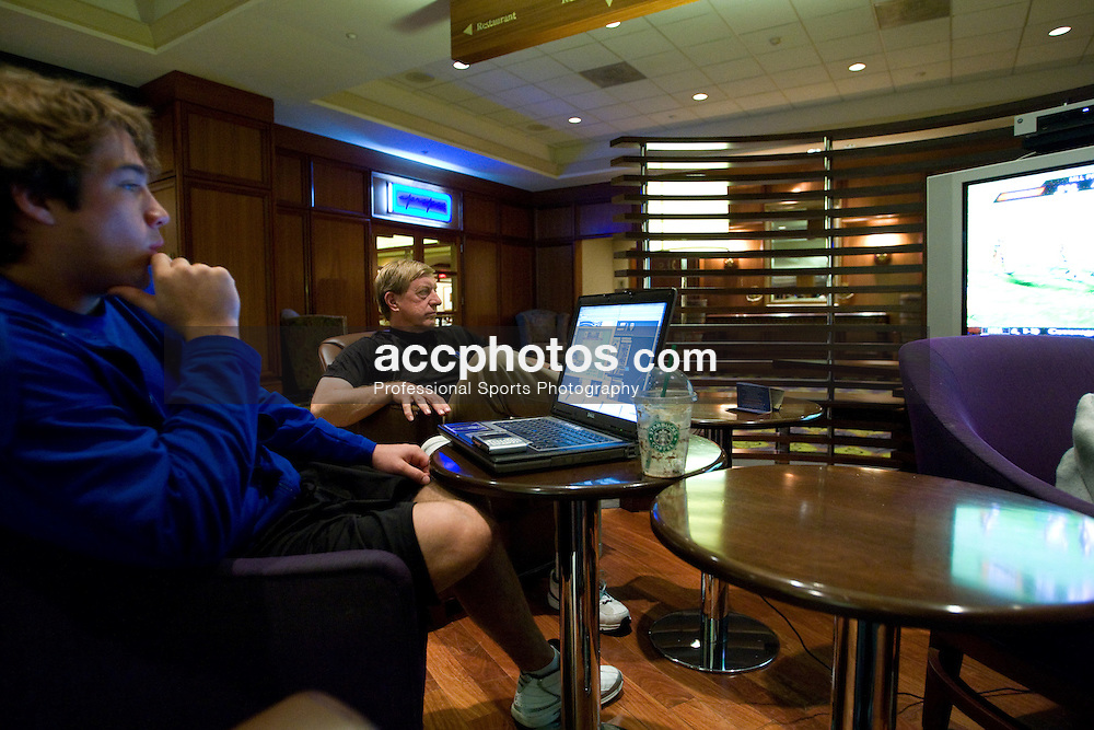 23 May 2008: Duke Blue Devils at their hotel a day before the NCAA Semifinals in Boston, MA.