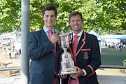 """Henley on Thames, United Kingdom, 8th July 2018, Sunday,  """"Henley Royal Regatta"""",  Double Sculls Challenge Cup, Winners, Left Angus GROOM, Right Jack BEAUMONT, M2X, Leander Club, with Trophy, View, Henley Reach, River Thames, Thames Valley, England, UK."""