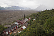 View from the top of the mill building looking up over Kennecott towards the confluence of the Root and Kennicott Glaciers, and nearby Donoho Peak in Wrangell St. Elias National Park, Alaska.