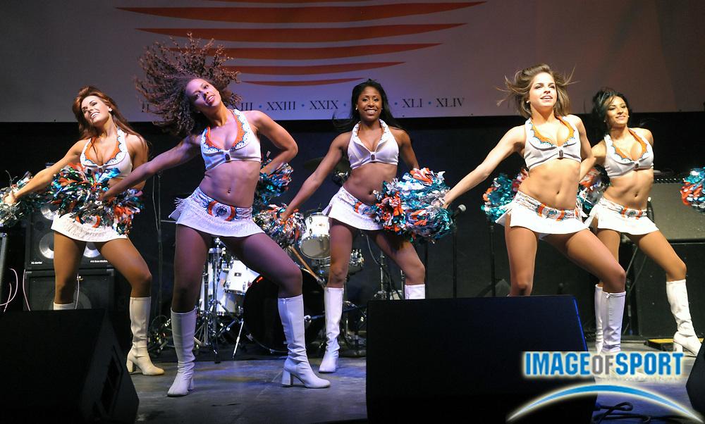 Feb 2, 2010; Miami Beach, FL, USA; Miami Dolphins cheerleaders perform at the Super Bowl XLIV media party at South Beach.