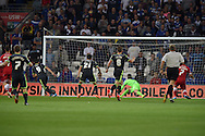 Kike ( Garcia Martinez ) no 9 of Middlesbrough scores his sides 1st goal. Skybet football league championship match, Cardiff city v Middlesbrough at the Cardiff city stadium in Cardiff, South Wales on Tuesday 16th Sept 2014<br /> pic by Andrew Orchard, Andrew Orchard sports photography.
