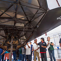 091813       Cable Hoover<br /> <br /> Tyron Shorty, right, and his classmates check out a 1/4 scale flight simulator of a F-117 stealth plane in the NASA Traveling Space Museum at Navajo Technical University Wednesday in Crownpoint.