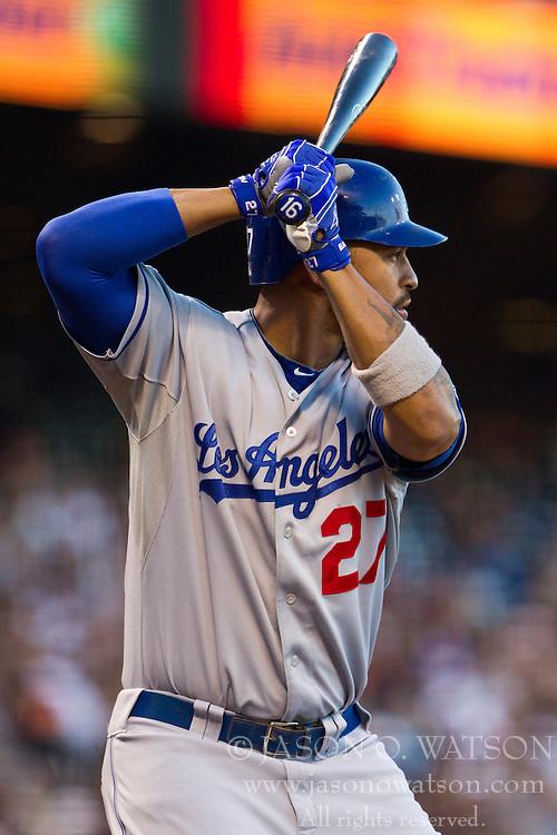 June 29, 2010; San Francisco, CA, USA;  Los Angeles Dodgers center fielder Matt Kemp (27) at bat against the San Francisco Giants during the third inning at AT&T Park.