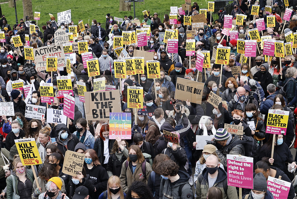 © Licensed to London News Pictures. 03/04/2021. London, UK. Protesters gather at Speaker's Corner ahead of a 'Kill the Bill' march and rally in central London. A coalition of groups including Extinction Rebellion, Kill the Bill & Black Lives Matter are coming together over the Easter weekend to campaign against the proposed Police, Crime, Sentencing and Courts Bill which will give police in England and Wales more power to impose conditions on non-violent protests. Photo credit: Peter Macdiarmid/LNP