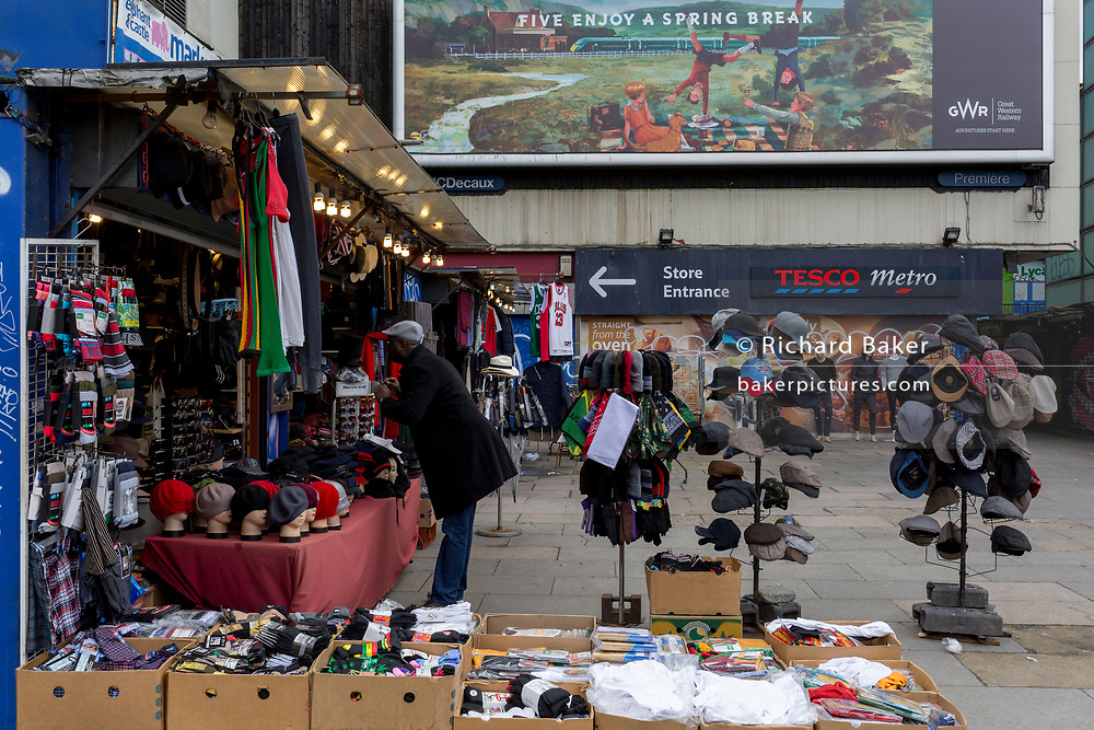 A hats market stall at Elephant and Castle shopping centre, on 29th March, 2018 in London, England.