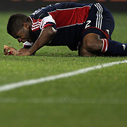 Andrew Farrell, New England Revolution, bleeding after a head clash during the New York Red Bulls V New England Revolution, Major League Soccer regular season match at Red Bull Arena, Harrison, New Jersey. USA. 5th October 2013. Photo Tim Clayton