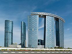 Modern new recently completed high-rise apartment towers  on Al Reem Island in Abu Dhabi United Arab Emirates UAE