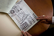 Record sketches by Investigative Engineering Services, Assistant Commissioner Tim Lynch in the federal City of New York Buildings Department, Manhattan. The notes and drawings he makes when investigating building incidents like collapses help form a federal case against owners or construction contractors. Tim works in the prevention of damage to old and ensuring new buildings are up to standard plus often, assessing the status of a collapsed structure. From the chapter entitled 'The Skyline' and from the book 'Risk Wise: Nine Everyday Adventures' by Polly Morland (Allianz, The School of Life, Profile Books, 2015).