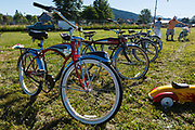 Collection of vintage bicycles at Wings and Wheels.
