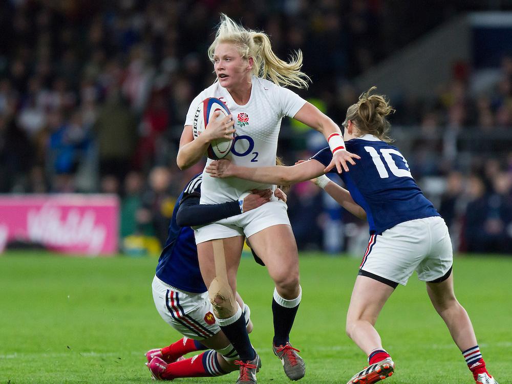Alex Matthews in action, England Women v France Women in the 6 Nations at Twickenham Stadium, Twickenham, England, on 21st March 2015