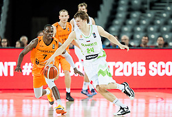 Charlon Kloof of Netherlands vs Jaka Klobucar of Slovenia during basketball match between Slovenia vs Netherlands at Day 4 in Group C of FIBA Europe Eurobasket 2015, on September 8, 2015, in Arena Zagreb, Croatia. Photo by Vid Ponikvar / Sportida