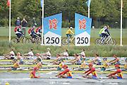 Eton Dorney, Windsor, Great Britain,..2012 London Olympic Regatta, Dorney Lake. Eton Rowing Centre, Berkshire[ Rowing]...Description;  Heat of the  W8+ GBR W8+ .Olivia WHITLAM (b) , Louisa REEVE (2) , Jessica EDDIE (3) , Lindsey MAGUIRE (4) , Natasha PAGE (5) , Annabel VERNON (6) , Katie GREVES (7) , Victoria THORNLEY (s) , Caroline O'CONNOR (c).. Dorney Lake. 10:54:18  Tuesday  31/07/2012.  [Mandatory Credit: Peter Spurrier/Intersport Images].Dorney Lake, Eton, Great Britain...Venue, Rowing, 2012 London Olympic Regatta...