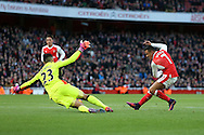 Arsenal's Alexis Sanchez scoring his sides opening goal during the Premier League match at the Emirates Stadium, London. Picture date October 26th, 2016 Pic David Klein/Sportimage