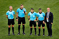 4th official Bjorn Kuipers (LL) and referee Nestor Pitana (L) with assistant referee's after the 2018 FIFA World Cup Russia, final football match between France and Croatia on July 15, 2018 at Luzhniki Stadium in Moscow, Russia - Photo Stanley Gontha / Proshots / ProSportsImages / DPPI