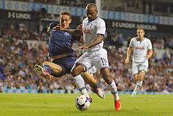 29.08.2013, White Hart Lane, London, ENG, UEFA CL Qualifikation, Tottenham Hotspur vs FC Dinamo Tiflis, Rueckspiel, im Bild Dinamo Tbilisi's Giorgi Gvelesiani and Tottenham's Jermain Defoe compete for the ball during the UEFA Europa League Qualifier second leg match between Tottenham Hotspur and FC Dinamo Tiflis Zuerich at the White Hart Lane in London, England on 2013/08/29 . EXPA Pictures © 2013, PhotoCredit: EXPA/ Mitchell Gunn <br /> <br /> ***** ATTENTION - OUT OF GBR *****