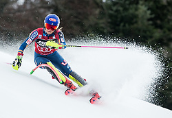 """Mikaela Shiffrin (USA) competes during 1st Run of FIS Alpine Ski World Cup 2017/18 Ladies' Slalom race named """"Snow Queen Trophy 2018"""", on January 3, 2018 in Course Crveni Spust at Sljeme hill, Zagreb, Croatia. Photo by Vid Ponikvar / Sportida"""