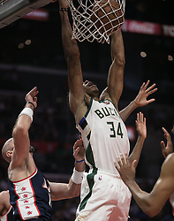 November 10, 2018 - Los Angeles, California, U.S - Giannis Antetokounmpo #34 of the Milwaukee Bucks goes for a dunk during their NBA game with the Los Angeles Clippers on Saturday November 10, 2018 at the Staples Center in Los Angeles, California. Clippers defeat Bucks in OT, 128-126. (Credit Image: © Prensa Internacional via ZUMA Wire)
