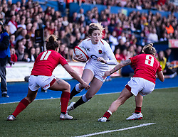 Jess Breach of England under pressure from Jess Kavanagh of Wales<br /> <br /> Photographer Simon King/Replay Images<br /> <br /> Six Nations Round 3 - Wales Women v England Women - Sunday 24th February 2019 - Cardiff Arms Park - Cardiff<br /> <br /> World Copyright © Replay Images . All rights reserved. info@replayimages.co.uk - http://replayimages.co.uk