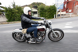 Takemi Matayoshi riding his Harley-Davidson on the SureShot ride around Chiba, Japan. Saturday, December 8, 2018. Photography ©2018 Michael Lichter.