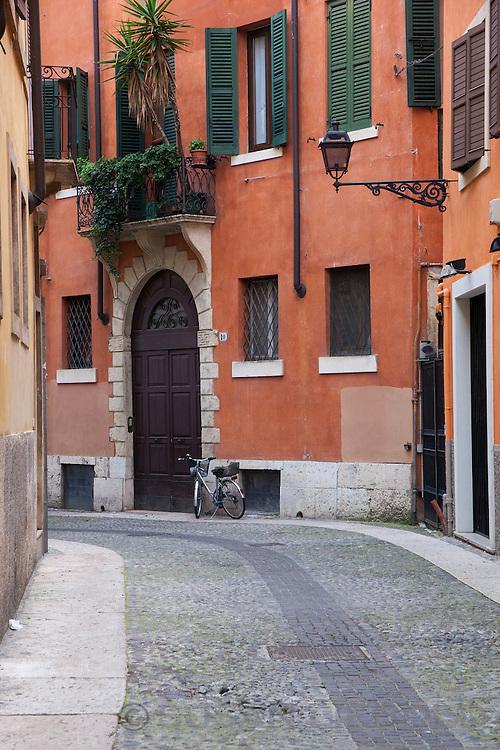 A quaint side street in Verona, Italy.