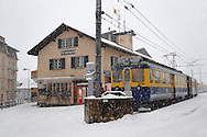 Grindelwald town train station in the winter snow. Ski resort - Swiss Alps .<br /> <br /> Visit our SWITZERLAND  & ALPS PHOTO COLLECTIONS for more  photos  to browse of  download or buy as prints https://funkystock.photoshelter.com/gallery-collection/Pictures-Images-of-Switzerland-Photos-of-Swiss-Alps-Landmark-Sites/C0000DPgRJMSrQ3U