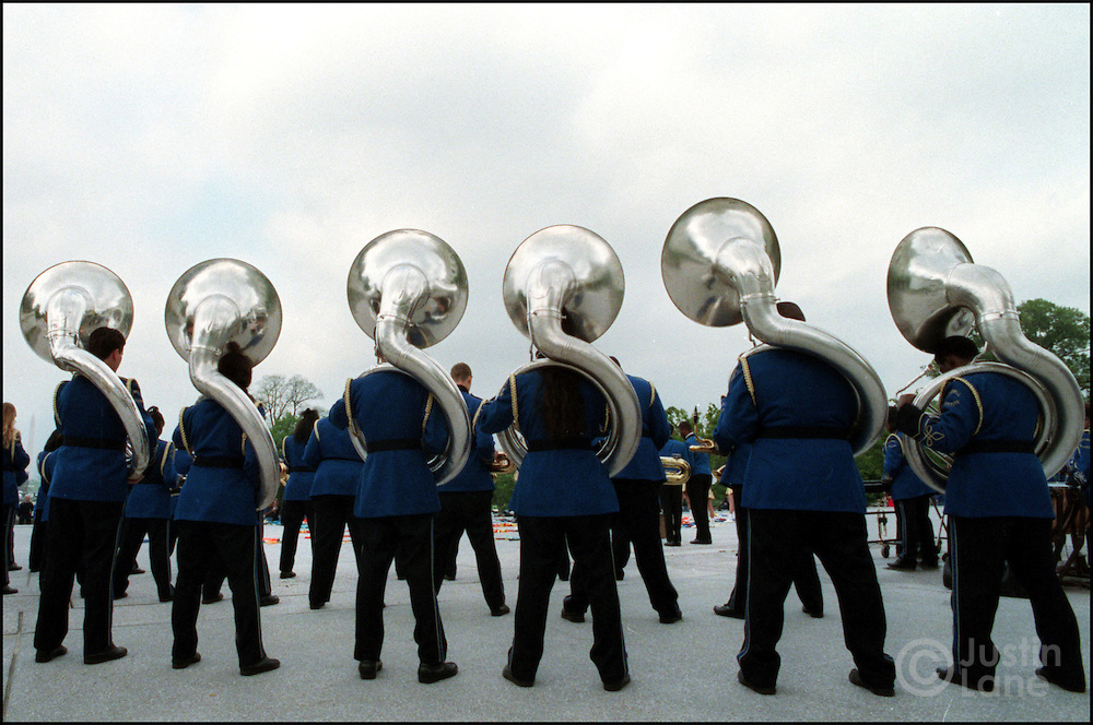 04/28/00--Washington--Attn:NATL--Floater3/JSL.Members of the Bradwell Institute band, a high school in Hinesville, GA,  performing on the steps of the US Capitol this morning. Schools can request permission to perform at the site and use the opportunity to bring styudents to Washington..Justin Lane for The New York Times