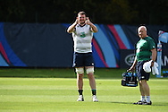 Donnacha Ryan of Ireland gives the 'thumbs up' sign during the Ireland rugby team training at Newport High School in Newport , South Wales on Friday 9th October 2015.the team are preparing for their next RWC match against France this Sunday.<br /> pic by  Andrew Orchard, Andrew Orchard sports photography.