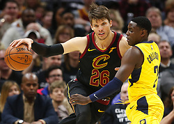 April 29, 2018 - Cleveland, OH, USA - Cleveland Cavaliers guard Kyle Korver is defended by Indiana Pacers guard Darren Collison in the first quarter of Game 7 during the Eastern Conference First Round series on Sunday, April 29, 2018 at Quicken Loans Arena in Cleveland, Ohio. The Cavs won the game, 105-101. (Credit Image: © Leah Klafczynski/TNS via ZUMA Wire)
