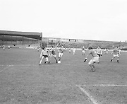 Mayo pushes Antrim away from the ball during the Antrim v Mayo All Ireland Minor Gaelic Football Final in Croke Park on the 8th of September 1974.