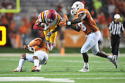 AUSTIN, TX - OCTOBER 18:  Allen Lazard #5 of the Iowa State Cyclones is tripped up by the Texas Longhorns on October 18, 2014 at Darrell K Royal-Texas Memorial Stadium in Austin, Texas.  (Photo by Cooper Neill/Getty Images) *** Local Caption *** Allen Lazard