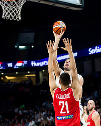 Boban Marjanovic of Serbia vs Kemal Karahodzic of Hungary during basketball match between National Teams of Serbia and Hungary at Day 11 in Round of 16 of the FIBA EuroBasket 2017 at Sinan Erdem Dome in Istanbul, Turkey on September 10, 2017. Photo by Vid Ponikvar / Sportida