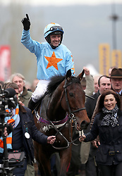 Jockey Ruby Walsh on Un De Sceaux celebrates winning the Ryanair Chase during St Patrick's Thursday of the 2017 Cheltenham Festival at Cheltenham Racecourse. PRESS ASSOCIATION Photo. Picture date: Thursday March 16, 2017. See PA story RACING Cheltenham. Photo credit should read: David Davies/PA Wire. RESTRICTIONS: Editorial Use only, commercial use is subject to prior permission from The Jockey Club/Cheltenham Racecourse.