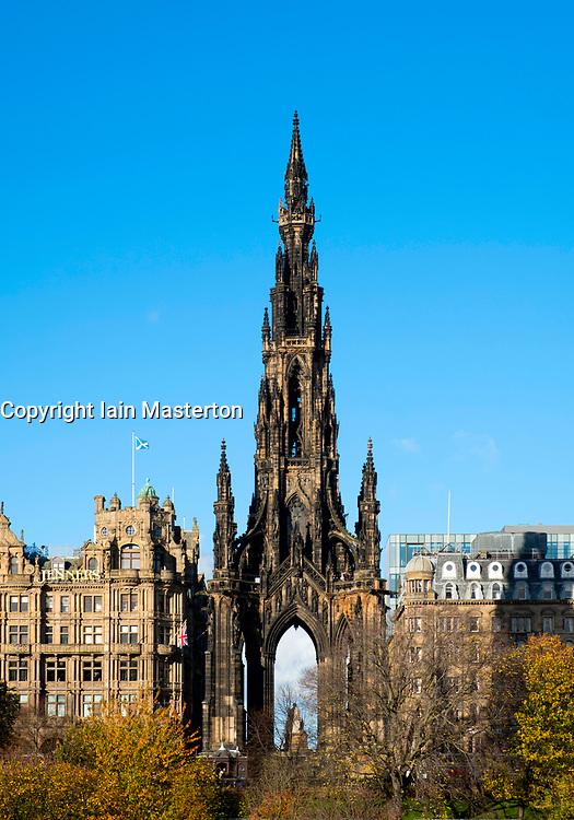 View of Walter Scott Monument on Princes Street in Edinburgh, Scotland, United Kingdom.