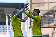 Goal Norwich City forward Teemu Pukki (22) scores a goal and celebrates with Norwich City midfielder Emiliano Buendia (17) 0-1 during the EFL Sky Bet Championship match between Wycombe Wanderers and Norwich City at Adams Park, High Wycombe, England on 28 February 2021.