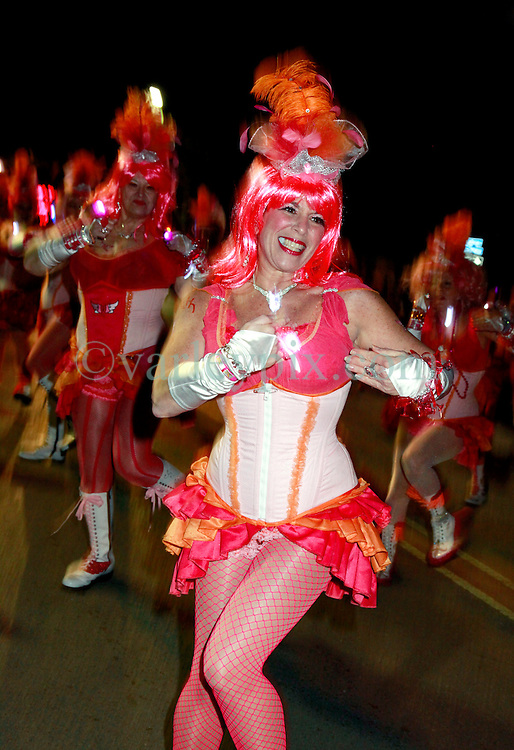 06 February 2013. New Orleans, Louisiana. .Mardi Gras. The Pussy Footers Dance Troupe. Following on from the Superbowl, the second week of Mardi Gras kicks off in New Orleans with the Mystic Krewe of Nyx, the newest all female parade in the city. Nyx was the Greek goddess of the night..Photo; Charlie Varley.