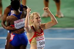 29-07-2010 ATLETIEK: EUROPEAN ATHLETICS CHAMPIONSHIPS: BARCELONA<br /> Verena Sailer GER wins the 100 meter before Veronique Mang en Myriam Soumare FRA<br /> ©2010-WWW.FOTOHOOGENDOORN.NL