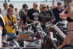 Photographer Chopper Dave having fun at the 27th Annual Boardwalk Bike Show during Daytona Bike Week 75th Anniversary event. FL, USA. Friday March 11, 2016.  Photography ©2016 Michael Lichter.