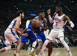 October 19, 2018 - Los Angeles, California, U.S - Shai Gilgeous-Alexander #2 of the Los Angeles Clippers with the ball during their NBA game with the Oklahoma Thunder on Friday October 19, 2018 at the Staples Center in Los Angeles, California. Clippers defeat Thunder, 108-92. (Credit Image: © Prensa Internacional via ZUMA Wire)