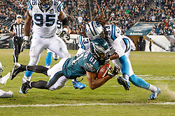 Philadelphia Eagles wide receiver Jordan Matthews #81 carries the ball for a touchdown during the NFL game between the Carolina Panthers and the Philadelphia Eagles at Lincoln Financial Field in Philadelphia, Pennsylvania on Monday November 10th 2014. The Eagles won 45-21. (Brian Garfinkel/Philadelphia Eagles)