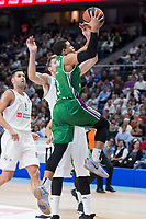 Real Madrid Luka Doncic and Unicaja Ray McCallum during Turkish Airlines Euroleague match between Real Madrid and Unicaja at Wizink Center in Madrid, Spain. November 16, 2017. (ALTERPHOTOS/Borja B.Hojas)