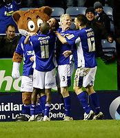 Photo: Steve Bond/Richard Lane Photography. Leicester City v Sheffield Wednesday. Coca Cola Championship. 12/12/2009. Andy King (looking up) celebrates his 2nd goal