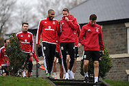 Ashley Williams and Chris Gunter of Wales © chat as they arrive for Wales football team training at Hensol Castle, Vale of Glamorgan, South Wales on Tuesday 10th November 2015. the team are training ahead of their friendly against the Netherlands on Friday,<br /> pic by  Andrew Orchard, Andrew Orchard sports photography.