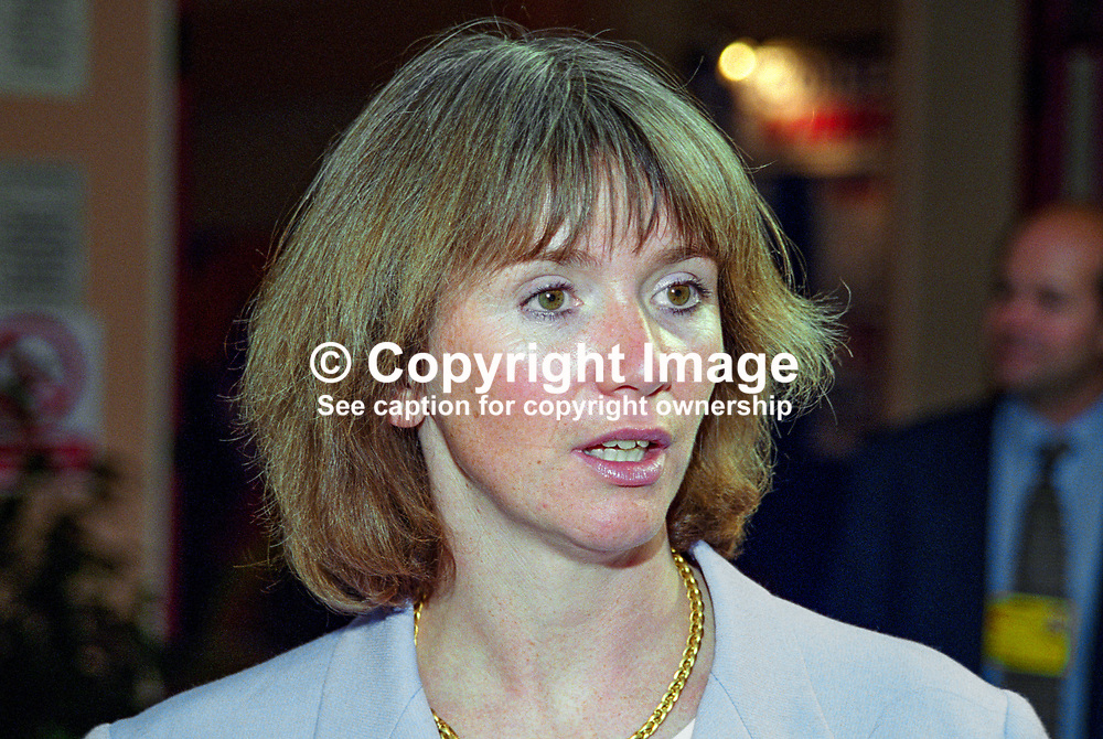 Julie Kirkbride, MP, UK,  Conservative Party, annual conference, Blackpool, 199910124.<br /> <br /> Copyright Image from Victor Patterson, Belfast, UK<br /> <br /> t: +44 28 9066 1296 (from Rep of Ireland 048 9066 1296)<br /> m: +44 7802 353836<br /> e: victorpattersonbelfast@gmail.com<br /> <br /> www.images4media.com<br /> <br /> Please see my full Terms and Conditions of Use at https://www.images4media.com/p/terms-conditions - it is IMPORTANT that you familiarise yourself with them.<br /> <br /> Images used online incur an additional cost. This cost should be agreed in writing in advance. Online images must be visibly watermarked i.e. © Victor Patterson or that of the named photographer within the body of the image. The original metadata must not be deleted from images used online.<br /> <br /> This image is only available for the use of the download recipient i.e. television station, newspaper, magazine, book publisher, etc, and must not be passed on to a third party. It is also downloaded on condition that each and every usage is notified within 7 days to victorpattersonbelfast@gmail.com.